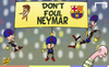 Cartoon: Dont touch Neymar (small) by omomani tagged barcelona,celtic,champions,league,iniesta,neymar,pique,scott,brown,xavi