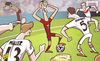 Cartoon: Half-fit Ronaldo overrun (small) by omomani tagged cristiano,ronaldo,germany,mats,hummels,pepe,philipp,lahm,portugal,thomas,muller,world,cup,2014