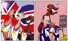 Cartoon: Team GB miss out (small) by omomani tagged craig,bellamy,danny,sturridge,gb,greg,rutherford,jessica,ennis,london,2012,olympic,mo,farah,ryan,giggs