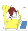 Cartoon: Waking Up (small) by omomani tagged woman,sofa,interior