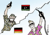 Cartoon: Jubel (small) by Pfohlmann tagged karikatur,color,farbe,2011,libyen,jubel,gaddafi,sieg,revolution,rebellen,revolte,aufstand,tripolis,deutschland,öl,benzin,sprit,spritpreis,benzinpreis,ölpreis,tankstelle,zapfpistole,flagge,fahne