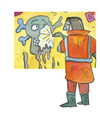 Cartoon: grafiti spray (small) by sabine voigt tagged grafitty,spray,chemie,reinigung,wandmalerei,vandalismus