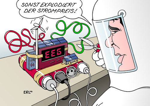 Cartoon: EEG (medium) by Erl tagged eeg,erneuerbare,energien,gesetz,windkraft,solarenergie,wasserkraft,subvention,strompreis,energiewende,kosten,explosion,bombe,energieminister,gabriel,entschärfen,draht,rot,grün,eeg,erneuerbare,energien,gesetz,windkraft,solarenergie,wasserkraft,subvention,strompreis,energiewende,kosten,explosion,bombe,energieminister,gabriel,entschärfen,draht,rot,grün