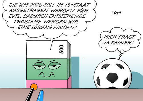 Cartoon: Fußball-WM (medium) by Erl tagged fußball,weltmeisterschaft,wm,2022,katar,wüste,hitze,austragung,fifa,winter,geld,sport,korruption,gier,is,staat,karikatur,erl,fußball,weltmeisterschaft,wm,2022,katar,wüste,hitze,austragung,fifa,winter,geld,sport,korruption,gier,is,staat