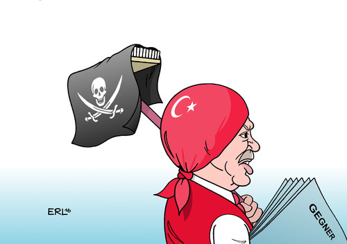 Cartoon: Säuberung (medium) by Erl tagged türkei,militär,putsch,militärputsch,versuch,präsident,sultan,erdogan,chance,gelegenheit,rache,säuberung,streitkräfte,justiz,präsidialsystem,demokratie,putzlappen,piratenflagge,totenkopf,säbel,karikatur,erl,türkei,militär,putsch,militärputsch,versuch,präsident,sultan,erdogan,chance,gelegenheit,rache,säuberung,streitkräfte,justiz,präsidialsystem,demokratie,putzlappen,piratenflagge,totenkopf,säbel,karikatur,erl