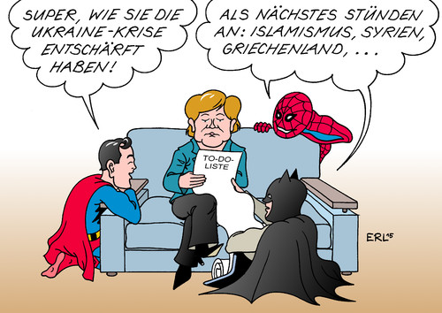 Cartoon: Superhelden unter sich (medium) by Erl tagged angela,merkel,diplomatie,ukraine,krise,krieg,ostukraine,entschärfen,heldin,superheld,superman,batman,spiderman,agenda,islamismus,syrien,griechenland,schulden,euro,banken,finanzen,karikatur,erl,angela,merkel,diplomatie,ukraine,krise,krieg,ostukraine,entschärfen,heldin,superheld,superman,batman,spiderman,agenda,islamismus,syrien,griechenland,schulden,euro,banken,finanzen