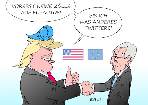 Cartoon: Trump Entwarnung (medium) by Erl tagged politik,wirtschaft,handel,handelskrieg,usa,präsident,donald,trump,zölle,strafzölle,androhung,autos,eu,entwarnung,verschärfung,twitter,juncker,karikatur,erl,politik,wirtschaft,handel,handelskrieg,usa,präsident,donald,trump,zölle,strafzölle,androhung,autos,eu,entwarnung,verschärfung,twitter,juncker,karikatur,erl