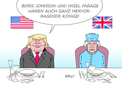 Cartoon: Trump in UK (medium) by Erl tagged politik,usa,präsident,donald,trump,rechtspopulismus,nationalismus,rüpel,besuch,großbritannien,gb,uk,einmischung,innenpolitik,brexit,hart,no,deal,empfehlung,lob,boris,johnson,nigel,farage,brüskierung,theresa,may,queen,elizabeth,ii,karikatur,erl,politik,usa,präsident,donald,trump,rechtspopulismus,nationalismus,rüpel,besuch,großbritannien,gb,uk,einmischung,innenpolitik,brexit,hart,no,deal,empfehlung,lob,boris,johnson,nigel,farage,brüskierung,theresa,may,queen,elizabeth,ii,karikatur,erl