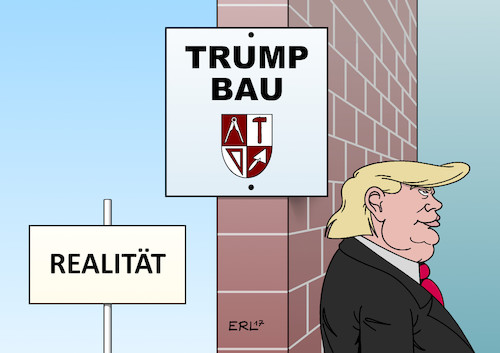 Cartoon: Trumps Mauer (medium) by Erl tagged usa,praesident,donald,trump,wahlversprechen,bau,mauer,grenze,mexiko,rechtspopulismus,postfaktisch,alternative,fakten,luegen,luege,wahrheit,realitaet,karikatur,erl,usa,praesident,donald,trump,wahlversprechen,bau,mauer,grenze,mexiko,rechtspopulismus,postfaktisch,alternative,fakten,luegen,luege,wahrheit,realitaet,karikatur,erl