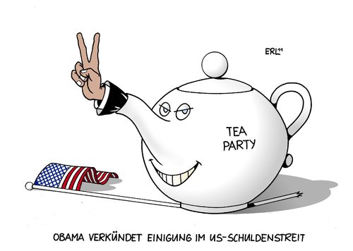 Cartoon: USA Einigung (medium) by Erl tagged obama,präsident,schuldengrenze,einigung,demokraten,party,tea,republikaner,streit,wirtschaft,haushalt,krise,schulden,usa,usa,schulden,haushalt,wirtschaft,streit,republikaner,tea party,demokraten,einigung,schuldengrenze,präsident,obama,tea,party