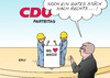 Cartoon: CDU (small) by Erl tagged cdu,parteitag,wahl,vorsitzende,angela,merkel,angie,zugpferd,alternativlos,kurs,unzufriedenheit,links,rechts,konservativ,profil,flüchtlingspolitik,härte,karikatur,erl