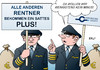 Cartoon: Rentner Piloten (small) by Erl tagged rente,erhöhung,rentner,plus,alter,vorsorge,geld,finanzen,piloten,streig,lufthansa,übergang,minus,arm,reich,armut,reichtum,karikatur,erl