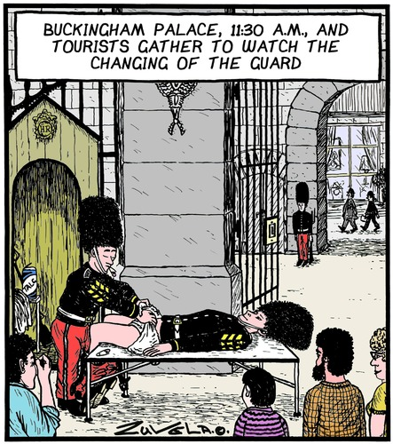 Cartoon: Changing of the Guard (medium) by Tony Zuvela tagged buckingham,palace,changing,of,the,guard,change,nappy,diaper,time,clock,on,off