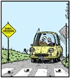 Cartoon: Snail Crossing (small) by Tony Zuvela tagged snail,crossing,zebra,pedestrian,elderly,couple,dead,died,skeletons,in,car,snails,road,waiting