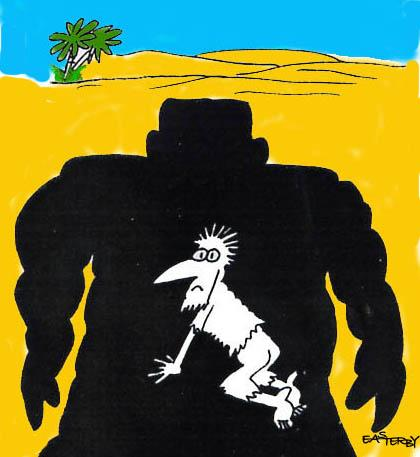Cartoon: GIANT SHADOW (medium) by EASTERBY tagged desert,shadow,fear