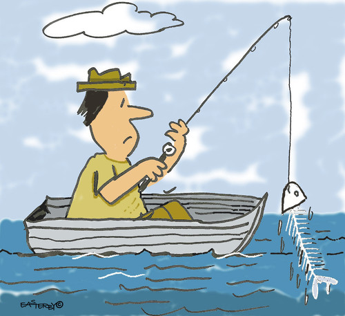Cartoon: Gone fishing (medium) by EASTERBY tagged fishing,boats,fisherman