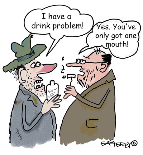 Cartoon: Only one mouth!!! (medium) by EASTERBY tagged alcohol,drinkproblems,alkohol,trinken,trinker,alkoholismus,problem,psyche,abhängigkeit,süchtig,sucht,alkoholiker