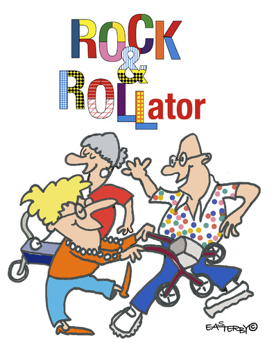 Cartoon: ROCK and ROLLator (medium) by EASTERBY tagged seniorentanz,rollatoren,seniorentanz,rollatoren