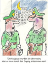 Cartoon: AUS UND EINGÄNGE (small) by EASTERBY tagged police,watching,waiting