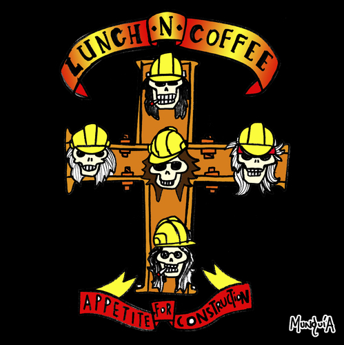 Cartoon: Appetite for construction (medium) by Munguia tagged for,appetite,roses,guns,destruction,80s,rock,heavy,metal,construction,helmet