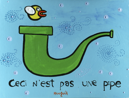 Cartoon: Flappy Bird Says (medium) by Munguia tagged magritte,flappy,bird,pipe,mario,bros,video,game,app,store,mac
