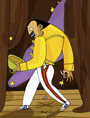 Cartoon: Freddy Mercury (medium) by Munguia tagged freddy,mercury,the,ghost,of,flea,william,blake,horror,painting,parodies,halloween,music,queen,rockstar