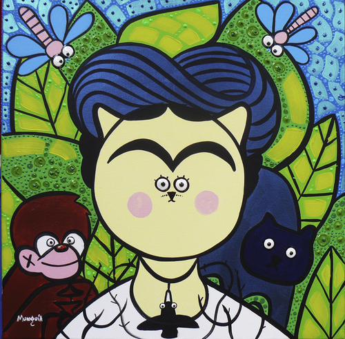 Cartoon: Frida Cat (medium) by Munguia tagged frida,kahlo,selfportrati,with,thorns,and,hummingbird,autorretrato,con,espinas,colibri,parody,famous,painting,iconic,cat,kitty
