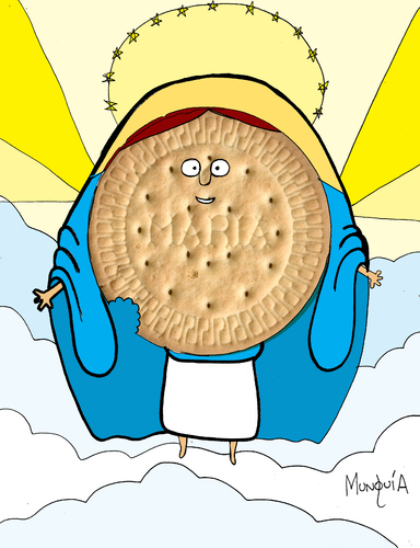 Cartoon: Galleta Maria (medium) by Munguia tagged cookie,galleta,maria,heaven,munguia,costa,rica