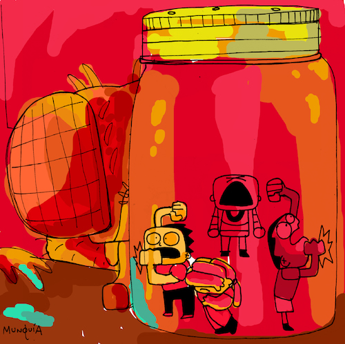 Cartoon: Jar of kids (medium) by Munguia tagged alice,in,chains,ep,album,cover,parodies,parody