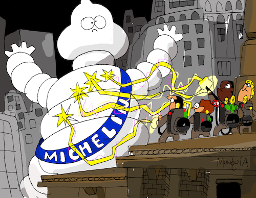 Cartoon: Michelin Vs Ghostbusters (medium) by Munguia tagged michelin,ghostbusters,stay,puft,marshmellow,man,malvadisco,cazafantasmas,parodia,parody,spoof