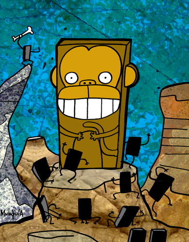 Cartoon: Monoliths (medium) by Munguia tagged monkeys,monolith,space,monkey,odyssey,2001,kubrick,munguia,costa,rica,humor,grafico,calcamunguias,chile,movie