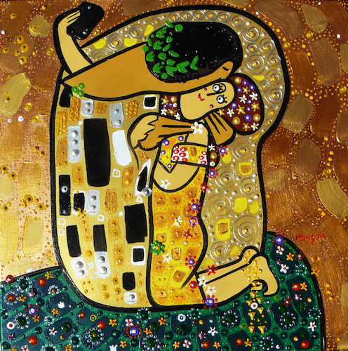 Cartoon: Selfie (medium) by Munguia tagged kiss,gustav,klimt,painting,famous,paintings,parodies,version