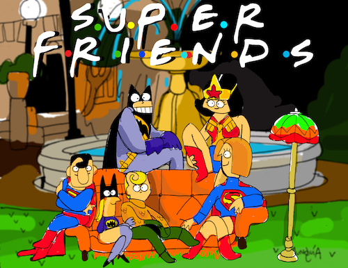 Cartoon: Super Friends (medium) by Munguia tagged super,friends,dc,heros,superman,fountain,batman,aquaman,wonderwoman,batgirl,supergirl,tv,show,parodies,parody