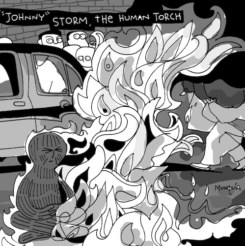 Cartoon: The Human Torch (medium) by Munguia tagged rage,against,the,machine,album,cover,parodies,parody,spoof,fun,version,funny