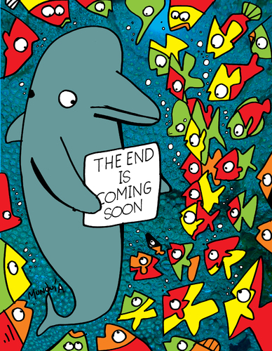 Cartoon: The Message (medium) by Munguia tagged dolphin,end,is,near,coming,soon,apocallipsis,ocean
