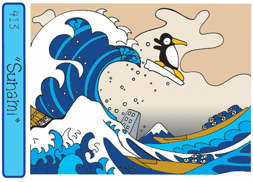 Cartoon: Tsunami - basado en Hokusai (medium) by Munguia tagged munguia,tormentoso,mar,big,wave,tsunami,hokusai,parodies,paintings,famous,pinguino
