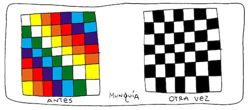 Cartoon: Wiphala vs Chess (medium) by Munguia tagged bolivia,wiphala,chess,cartoon,ajedrez,bandera,flag