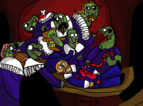 Cartoon: Zombie Lesson With Dr Food (medium) by Munguia tagged anatomy,lesson,with,dr,tulp,class,medical,rembrandt,zombie,horror,paintings,parodies,famous,munguia