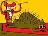 Cartoon: acupuncture (small) by Munguia tagged acupuncture,bull,bullfight,bullfighter,nails,red