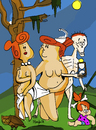 Cartoon: Ages of Wilma (small) by Munguia tagged hans,baldung,ages,of,man,women,men,age,flintstones,horror,parodies,famous,paintings,haloween