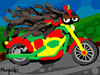 Cartoon: Bob Harley (small) by Munguia tagged bob,marley,harley,davidson,mothorcycle,cycle,road,born,wild,highway,calcamunguias,costa,rica,reggae,regue,wheels