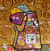 Cartoon: Cat Hug (small) by Munguia tagged gustav,klimt,famous,paintings,parodies