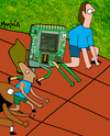 Cartoon: Circuit Racer (small) by Munguia tagged circuit,race,racer,chip,tech,computer,fast