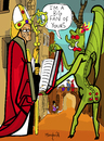 Cartoon: Dont trust the devil (small) by Munguia tagged michael,pacher,saint,wolfgang,and,the,devil,built,church