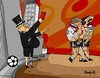 Cartoon: expelled from  credit paradise (small) by Munguia tagged expulsed,from,garden,of,eden,paradise,banks,money,pour,rich,football,red,card,penalty,out,munguia,massaccio