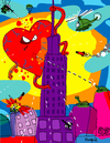 Cartoon: Heart Attack (small) by Munguia tagged heart,attack,king,kong