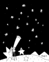 Cartoon: Humanist night (small) by Munguia tagged stars,night,nite,stary,telescope,dark,space,astro