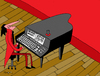 Cartoon: keyboardist (small) by Munguia tagged keyboard piano music musician pianist stage computer digit teclado tecladista munguia costa rica humor grafico caricaturas dibujos arte chiste