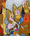 Cartoon: Kitties of Avignon (small) by Munguia tagged young,ladies,of,avignon,pablo,picasso,cats,kitties,gatos,famous,paintings,parodies