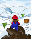 Cartoon: Mario above the Sea of Fog (small) by Munguia tagged caspar,david,friedrich,wanderer,above,the,sea,of,fog,parody,mario,bros,video,game